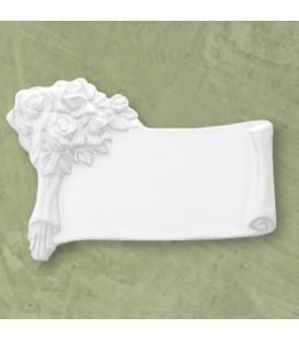 Targa mazzo rose bianca cm.22x15