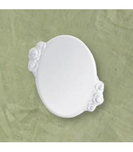 Targa ovale c/rose bianca 12x11 cm