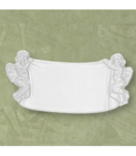 Targa angeli drappo bianca 12x28 cm