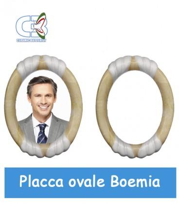Placca ovale Boemia 11,5x14,5cm per fotoceramica funeraria
