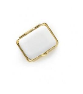 Portapillole rett.colore oro+placchetta 20x28 mm. per fotoceramica