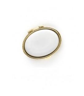 Portapillole ovale color oro+placchetta 22x31 mm., per Fotoceramica.