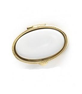 Portapillole ovale color oro+placchetta 27x45 mm, per Fotoceramica