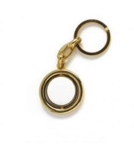 Portachiavi liscio col.oro 2 facce+2 miniature d.21 mm, per Fotoceramica