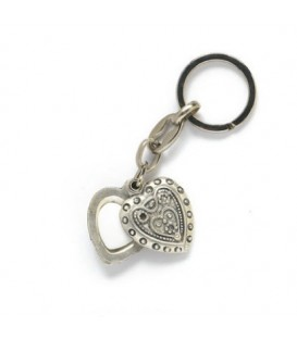 Portachiavi secreter col.argento cuore+1 miniatura 15 mm, per Fotoceramica