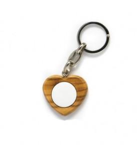 Portachiavi cuore legno+1 miniatura diam. 21 mm.