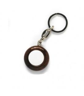 Portachiavi legno 2 facce+2 miniature diam.21 mm.
