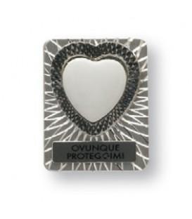 Calamita metallo cuore c/piastrina+miniatura cuore 15 mm.