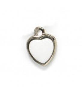 Ciondolo argento 1 faccia+miniatura cuore 15 mm.