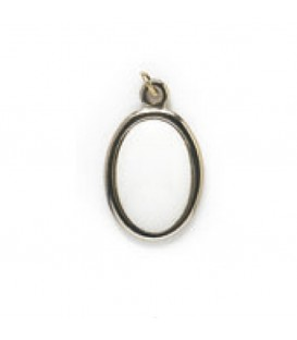 Ciondolo argento 1 faccia+miniature ovale 13x19 mm.