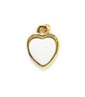 Ciondolo oro 2 facce+2 miniature cuore 15 mm.