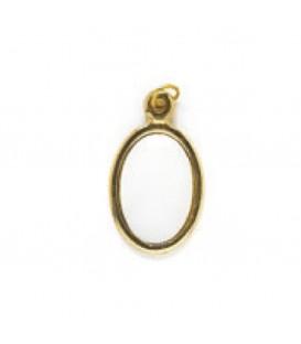 Ciondolo oro 2 facce+2 miniature ovali 13*19 mm.