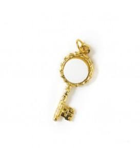 Ciondolo chiave oro +1 miniatura diam. 10 mm.